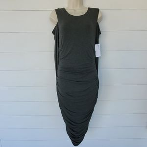 Bailey / 44 Gray Ruched Long Sleeve Dress Size M